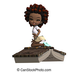 cute little cartoon school girl with curly hair is flying on a book. 3D rendering with clipping path and shadow over white