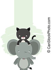 cute little cat and elephant characters