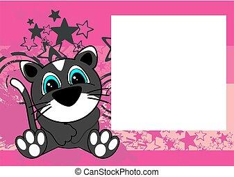 cute little cat cartoon frame