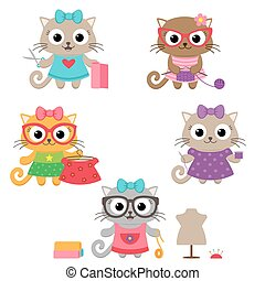 Cute little cat girls with sewing accessories