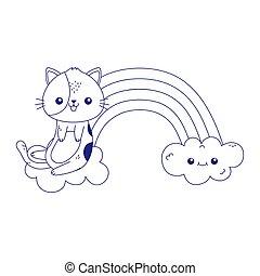 cute little cat rainbow clouds kawaii cartoon character