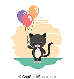cute little cat with balloons helium character