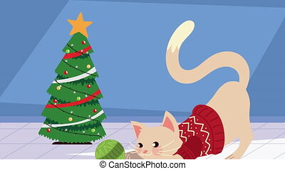 cute little cat with christmas suit and pine tree ,4k video animated