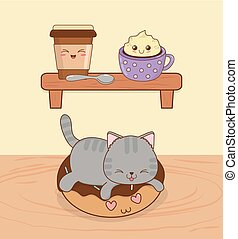 cute little cat with sweet donut kawaii character