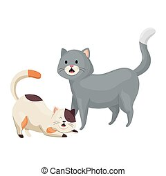 cute little cats animals icon