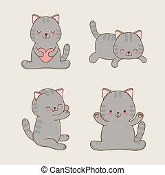 cute little cats kawaii characters