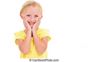 cute little caucasian girl on white