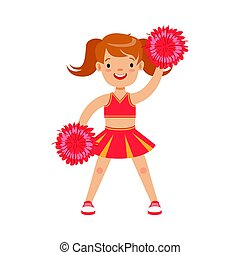 Cute little cheerleader girl dancing with red pompoms. Colorful cartoon character vector Illustration