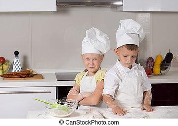 Cute Little Chefs in Kitchen