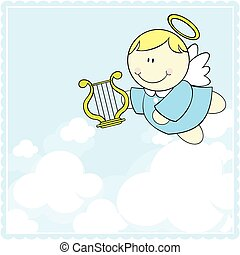 cute little cherub with harp - little baby cherub with harp...