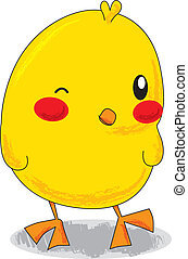 Cute Little Chick - Cute yellow cartoon little chick winking...