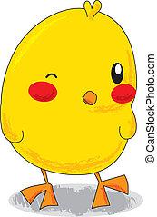 Cute Little Chick - Cute yellow cartoon little chick winking...