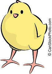 Cute Little Chick Front View - Vector Illustration Of A Baby...