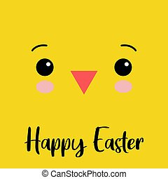 Cute little chick vector graphic illustration. Simple square cartoon. Easter yellow chicken face, eyes with little beak.