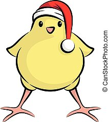 Cute Little Chick With Santa Claus Hat For Christmas Party -...