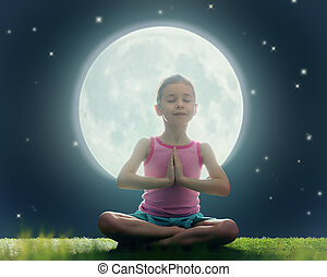 girl enjoying meditation and yoga
