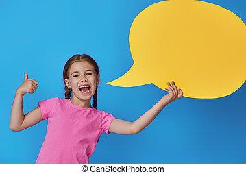 girl with cartoon speech