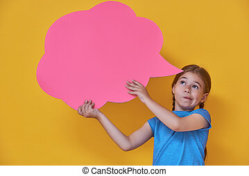 girl with cartoon thought