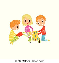 Cute little children cutting application details, kids creativity, education and development concept vector Illustration on a white background