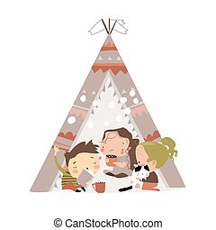 Cute little children play in a tent teepee. Vector illustration