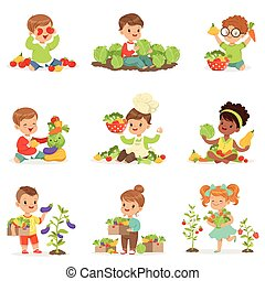 Cute little children playing, gathering and preparing vegetables, set for label design. Cartoon detailed colorful Illustrations