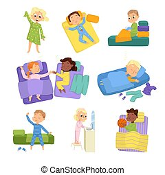 Cute Little Children Sleeping Sweetly in their Beds Set, Bedtime, Sweet Dreams of Adorable Kids Concept Cartoon Style Vector Illustration