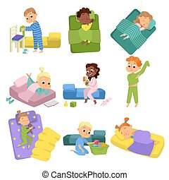 Cute Little Children Sleeping Sweetly in their Beds Set, Boys and Girls Getting Ready to Sleep, Sweet Dreams of Adorable Kids Cartoon Style Vector Illustration