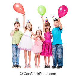 cute little children with hands uo and baloons