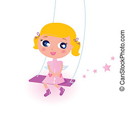 Cute little christmas Angel Girl isolated on white