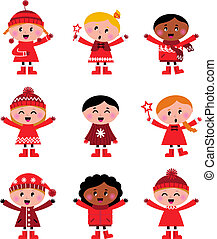 Little christmas cartoon children set - vector Illustration