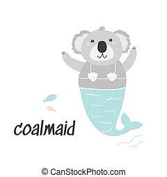 Cute little Coala Mermaid illustration. Cartoon character.