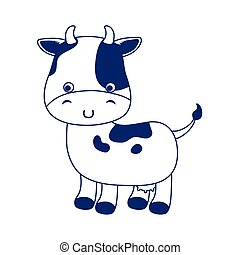 cute little cow cartoon animal isolated icon design line style