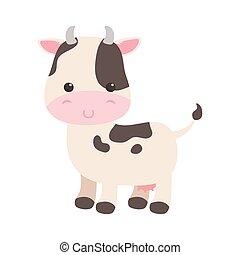 cute little cow cartoon animal isolated icon design