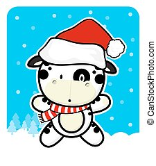 cute little cow with santa hat