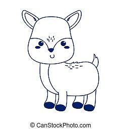 cute little deer animal cartoon isolated icon design line style