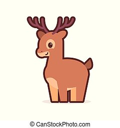 cute little deer cartoon comic character with smiling face happy emoji anime kawaii style funny animals for kids concept