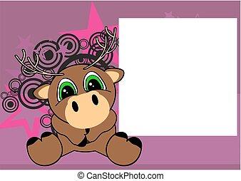 cute little deer cartoon frame