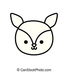 cute little deer head animal cartoon thick line