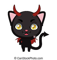 Cute little devil cat illustration