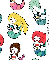 Cute little different hair mermaid with crown and flower seamless pattern