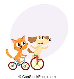 Cute little dog and cat, kitten characters riding bicycles...