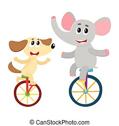 Cute little dog, puppy and elephant characters riding...