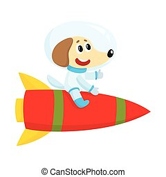 Cute little dog, puppy astronaut, spaceman character riding a rocket