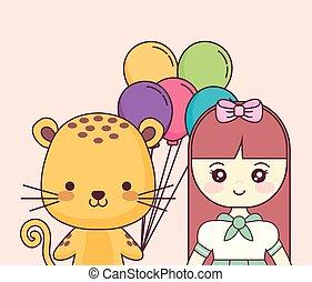 cute little doll happy birthday card vector illustration design