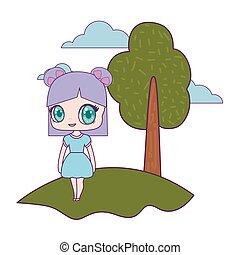 cute little doll in landscape vector illustration design