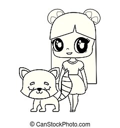 cute little doll with cat animal vector illustration design