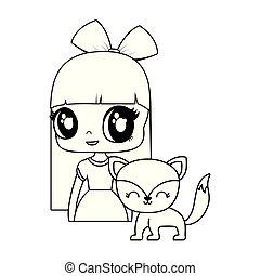 cute little doll with fox animal vector illustration design
