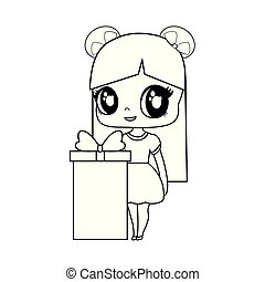 cute little doll with gift box vector illustration design