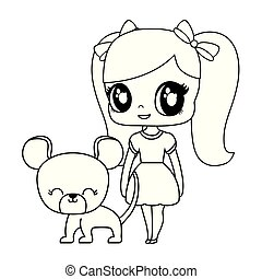 cute little doll with mouse animal vector illustration design