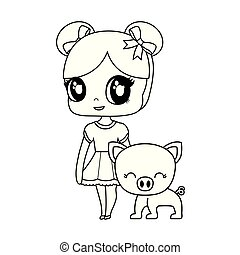 cute little doll with piggy animal vector illustration design